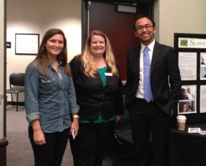 ESTN Intern Jen Isenberg, ESTN Community Educator Dana Garrett, Global Studies faculty Justin Phalichanh